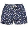 Faconnable - Mid-Length Boat-Print Swim Shorts