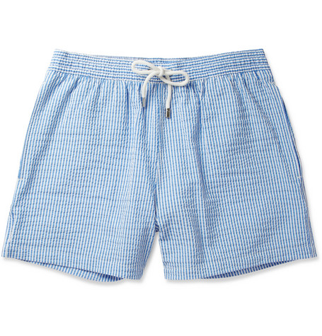 Faconnable Short-Length Striped Seersucker Swim Shorts