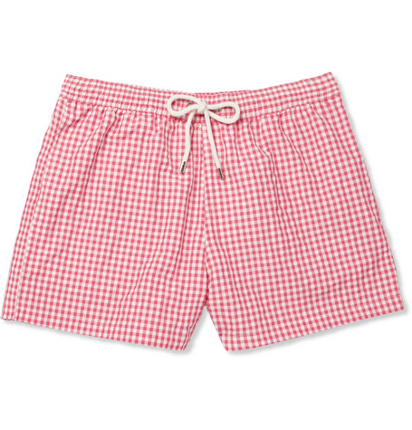 Faconnable Short-Length Check Seersucker Swim Shorts