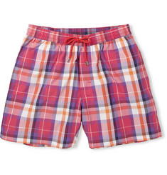 Faconnable Mid-Length Plaid Cotton-Blend Swim Shorts