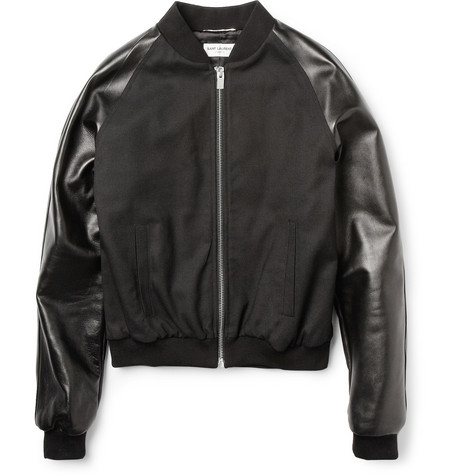 Saint Laurent Leather-Sleeved Cropped Bomber Jacket