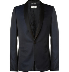 Saint Laurent Slim-Fit Textured Tuxedo Blazer