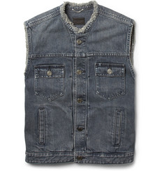 Saint Laurent Sleeveless Washed Denim Jacket