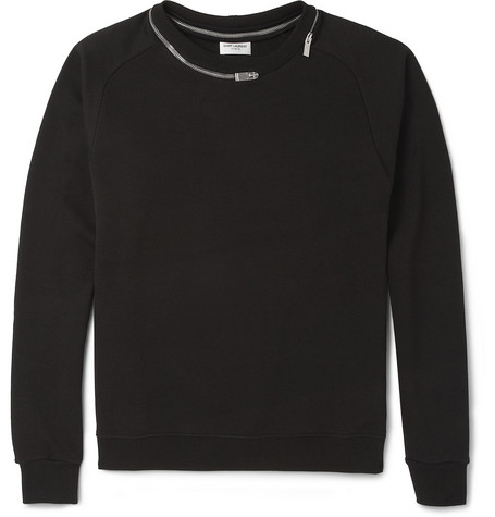 Saint Laurent Zip-Detailed Loopback-Cotton Sweatshirt
