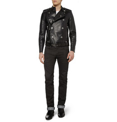 Saint Laurent Slim-Fit 17.5cm Hem Coated-Denim Jeans