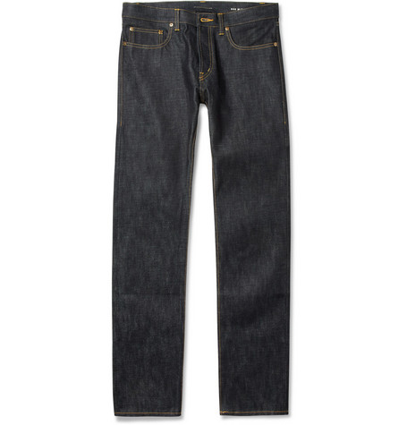 Saint Laurent Slim-Fit 19cm Hem Dry Denim Jeans
