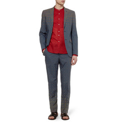 Etro Navy Printed Cotton-Poplin Suit Jacket