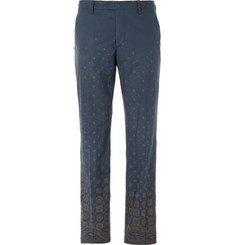 Etro Navy Printed Cotton-Poplin Trousers
