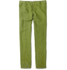 Etro Slim-Fit Washed-Linen Trousers