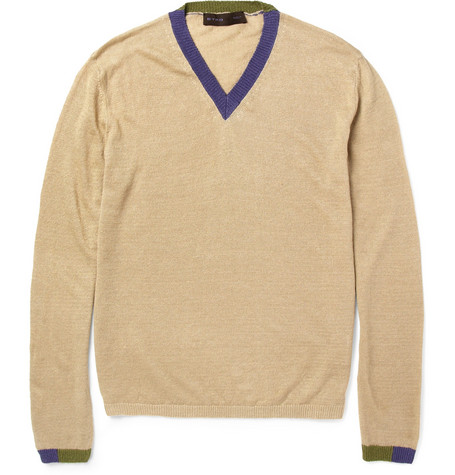 Etro Knitted Linen V-Neck Sweater