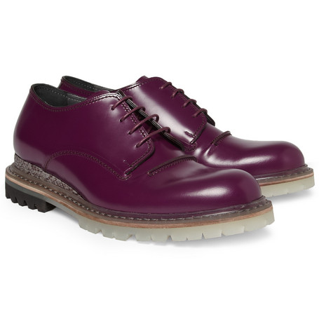 Lanvin Elaphe-Trimmed Leather Derby Shoes