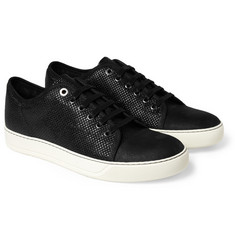Lanvin Textured Coated-Leather Sneakers