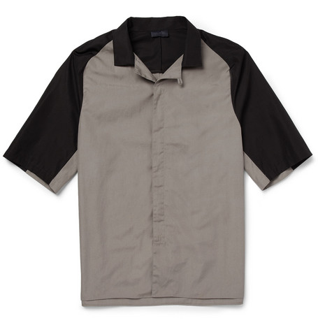 Lanvin Short-Sleeved Panelled Cotton Shirt