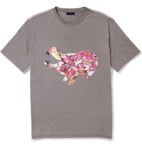 Lanvin Printed Cotton Crew Neck T-Shirt