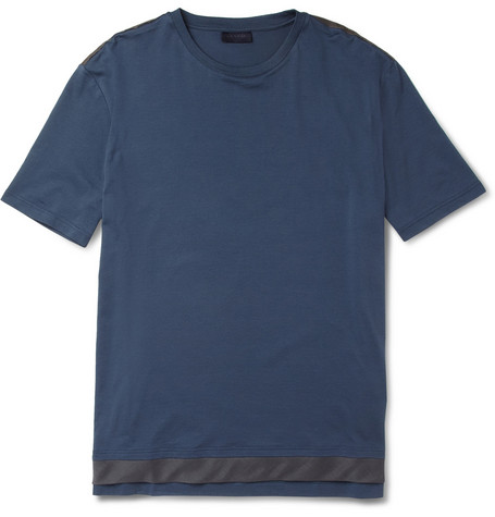 Lanvin Voile-Trimmed Cotton T-Shirt