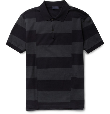 Lanvin Split-Stripe Cotton-Piqué Polo Shirt