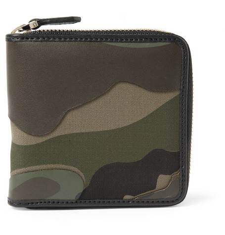 Valentino Camouflage-Print Leather and Canvas Wallet