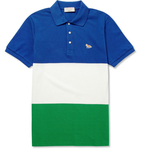 Maison Kitsuné Striped Cotton-Piqué Polo Shirt