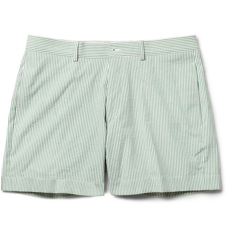 Maison Kitsuné Green Striped Cotton Suit Shorts