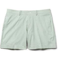 Maison Kitsuné Green and White Cotton-Seersucker Suit Shorts