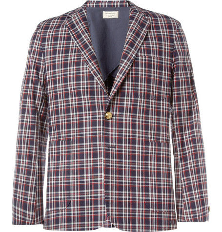 Maison Kitsuné Red Check Cotton Suit Jacket