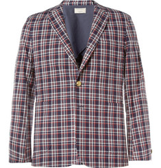 Maison Kitsuné Red and Blue Check Cotton Suit Jacket