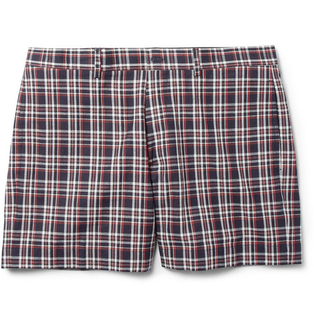 Maison Kitsuné Red Check Cotton Suit Shorts