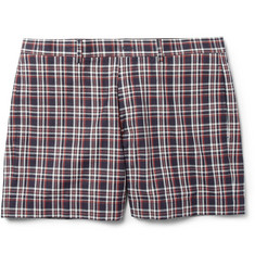 Maison Kitsuné Red and Blue Check Cotton Suit Shorts