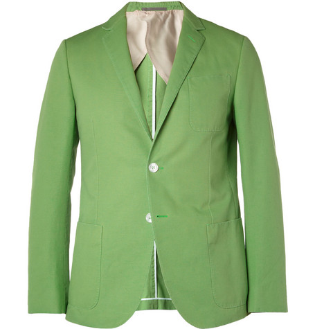 Gucci Green Slim-Fit Cotton-Canvas Suit Jacket
