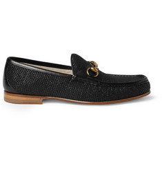 Gucci Horsebit Raffia and Leather Loafers