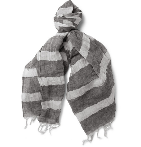 Kolor Striped Linen and Cotton-Blend Scarf