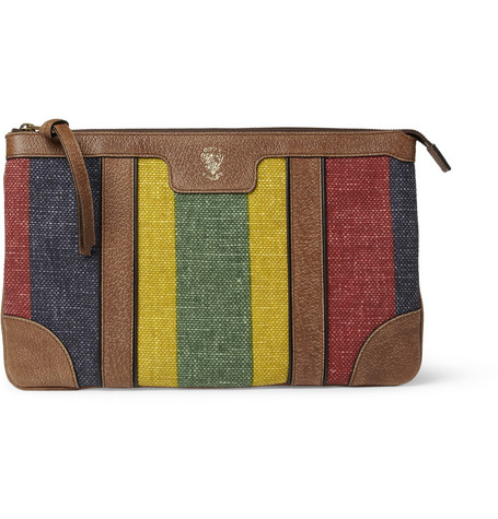 Gucci Full Grain Leather and Canvas Pouch