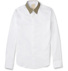 Wooyoungmi Contrast-Collar Slim-Fit Cotton Shirt