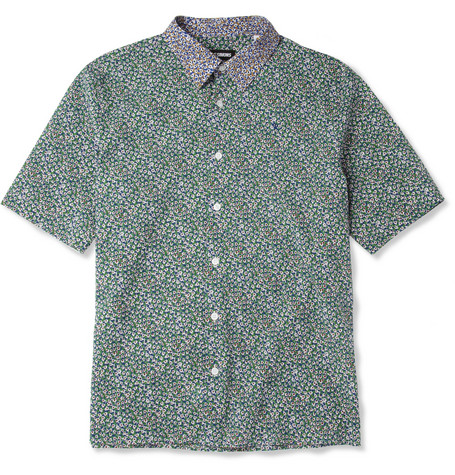 Raf Simons Slim-Fit Short-Sleeved Flower-Print Cotton Shirt