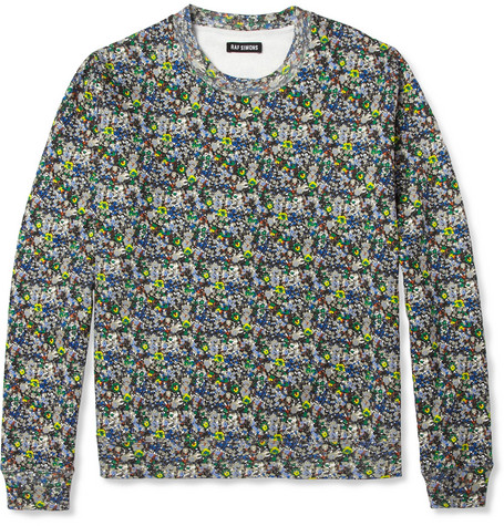 Raf Simons Printed Loopback Cotton-Blend Sweatshirt