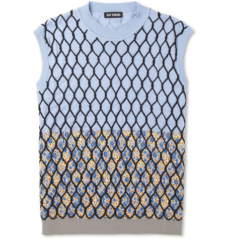 Raf Simons Mesh and Flower-Patterned Sleeveless Cotton Sweater