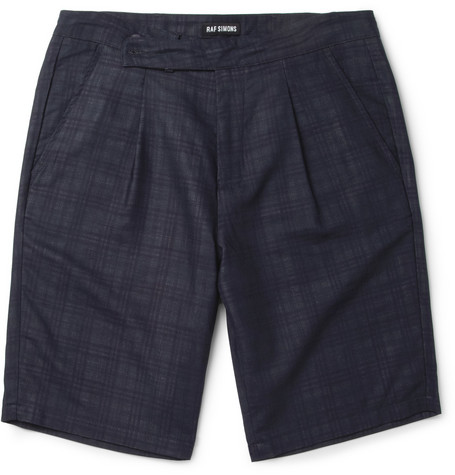 Raf Simons Navy Wool-Blend Suit Shorts