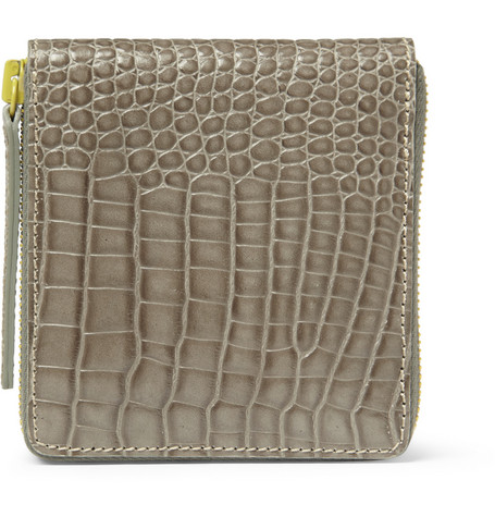 Raf Simons Crocodile-Embossed Leather Billfold Wallet