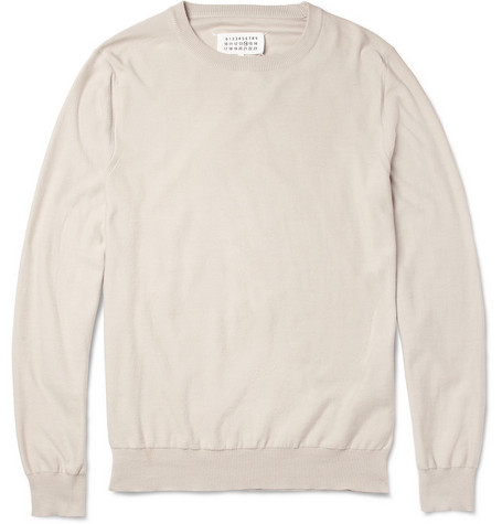 Maison Martin Margiela Suede Elbow-Patch Knitted Cotton Sweater