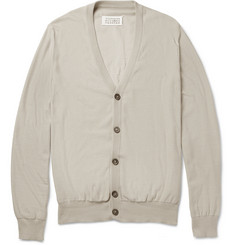 Maison Martin Margiela Suede Elbow-Patch Cotton Cardigan