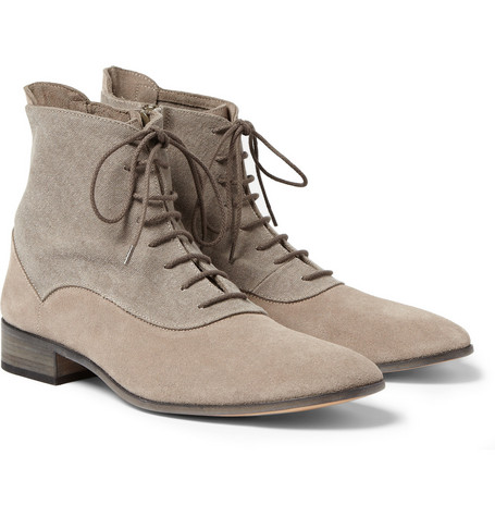 Maison Martin Margiela Suede and Canvas Boots