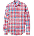 Incotex Glanshirt Plaid Textured Cotton-Blend Shirt