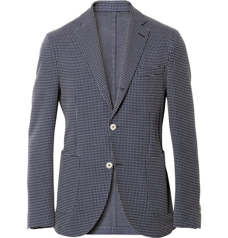 Slowear Montedoro Jacquard Check Cotton Blazer