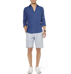 Slowear Glanshirt V-Neck Linen Shirt