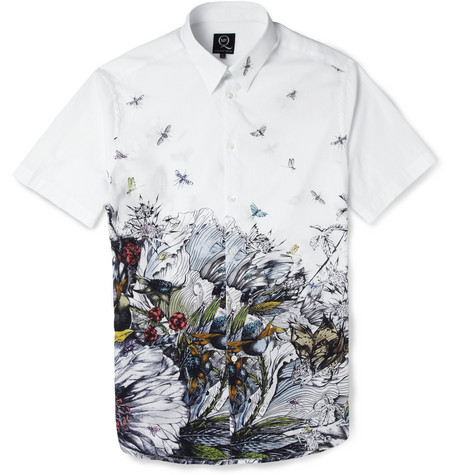 McQ Alexander McQueen Printed Short-Sleeved Cotton Shirt