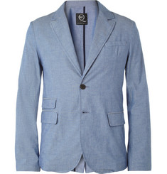 McQ Alexander McQueen Light Blue Unstructured Cotton Suit Jacket