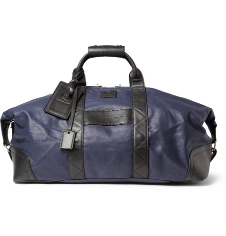 McQ Alexander McQueen Leather-Trimmed Waxed-Cotton Holdall Bag