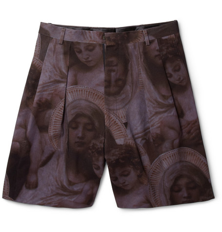 Givenchy Wide-Leg Printed Cotton-Twill Shorts