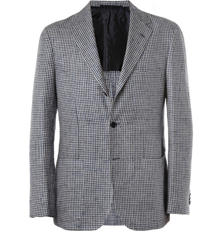MP di Massimo Piombo Slim-Fit Houndstooth Silk-Blend Blazer