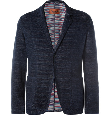 Missoni Slim-Fit Knitted Linen-Blend Blazer
